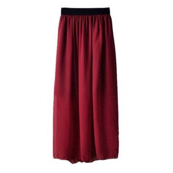 Women Double Layer Chiffon Long Elastic Waist Maxi Skirt Pleated skirts