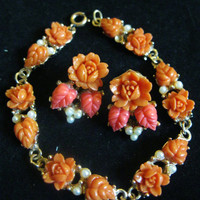 Vintage 1950s Coral Celluloid Flower and Pearl Earring & Bracelet Jewelry Set