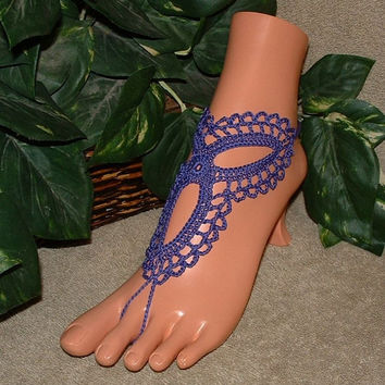 Crochet, Infinity, Violet, Majestic Barefoot Sandal, Wedding, Bridal, Shoes, Accessories, Regency,Footless, Bottomless, Trinity, Anklet
