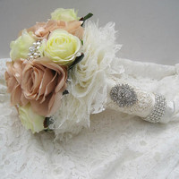 Stunning Bouquet Champagne and Ivory Silk Rose Brooch Bouquet with Lace Underside Gorgeous Pearl and Rhinestone Brooches