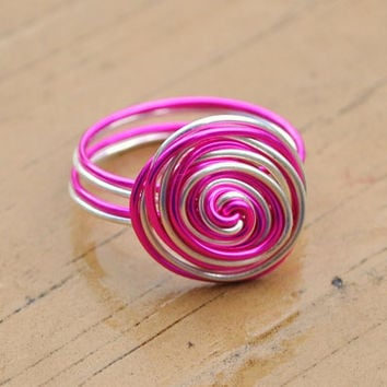 Wire Wrapped Ring Friendship Hot Pink and Silver by KissMeKrafty