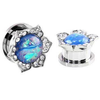 ESBONRZ Pair Steel Ear Plugs Tunnels Fake Opal Stone Earring Gauges Screw Fit Piercing Tunnels Plugs Ear Expander Rings Body Jewelry