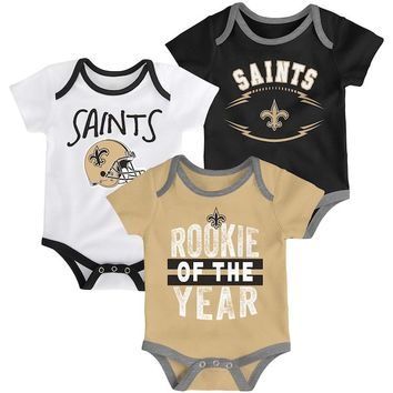 New Orleans Saints Infant Kicking & Screaming Three-Piece Bodysuit Set - Black/Gold/White