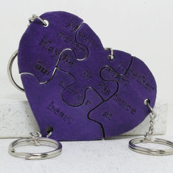 Friendship Key chains Always Together Never Apart Metallic Purple Puzzle Key chains Set of 4