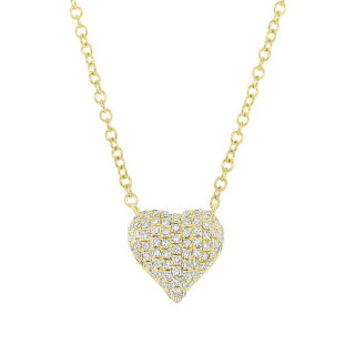 0.19ct 14k Yellow Gold Diamond Pave Heart Necklace