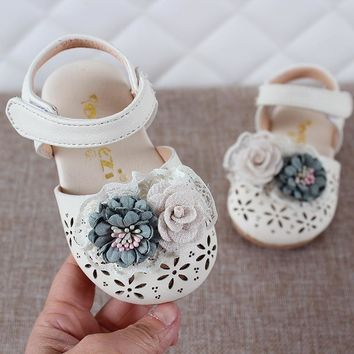 Summer Girls Shoes Cover Toe Sandals For Baby Girl Shoe Flowers Princess Shoes Baby Toddler Sandal For Kids Shoe MCH080