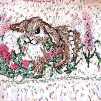 Hand Smocked & Embroidered Baby  Dress/ Size 1/For the Love of Bunny/