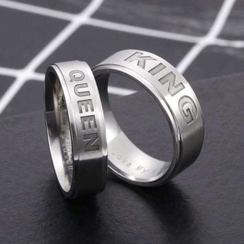 Stainless Steel Lovers' Ring For Women Men Letter King Queen Rings Crown Lady Titanium Steel Handle Jewelry Fatpig Gift