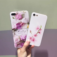 Newest Flower Case Cover For iPhone 7 Case for iPhone 7 Plus 6 6s 6 Plus Soft TPU Cases Luxury 3D Emboss Back Shell    -0405