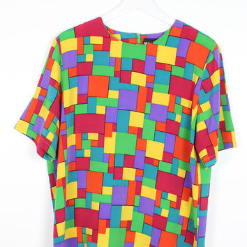 Vintage 1980s Shirt Rainbow Print Geometric Color Blocked Mondrian Mod New Wave Short Sleeve Shirt 80s Blouse Draped Fit Boxy Top L Large XL