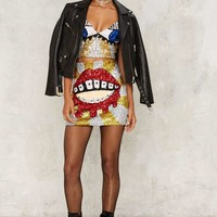 DI$COUNT UNIVER$E Bleeding Lips Sequin Mini Skirt