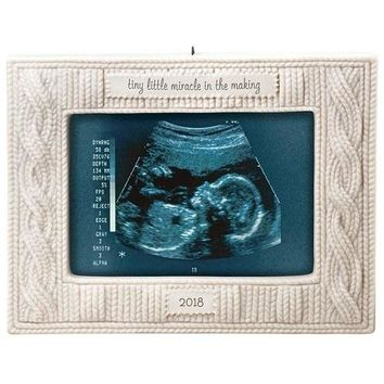 Miracle in the Making Sonogram 2018 Porcelain Photo Ornament