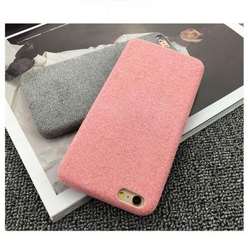 Fashion Vintage Candy Color Fuzzy Phone Cases For iphone 7 Case Luxury DIY Ultra thin Soft TPU Cover For iphone 7 6 6s Plus Capa