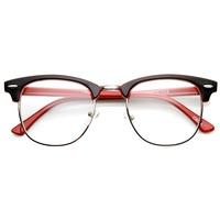Two-Tone Colorful Half Frame Clear Lens Horn Rimmed Eyeglasses