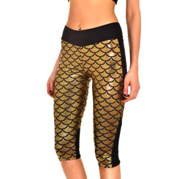 Mermaid Fitness Shorts - Gold