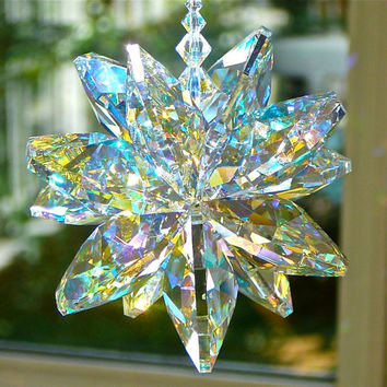 "STELLA AB - Swarovski Crystal Suncatcher Made With 14mm AB Crystal Octagons, Shimmers in Low Light - Choose from 5"" or 9"" Length"