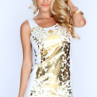 White Gold Damask Print Sleeveless Dress
