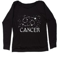 Cancer Zodiac Star Chart  Slouchy Off Shoulder Oversized Sweatshirt