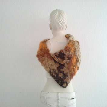 Pippi's Fall Mist Shawl Collar, Asymmetric Cowl Scarf, Crochet NeckWarmer, SuperSoft, Womens, Autumn, Winter Fashion, Brown Ombre, Gift