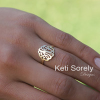 Small Monogram Initials Ring - Initials Ring - Customize It With Your Initials - 10K / 14K / 18K Solid Gold, Silver or 14k Goldfilled