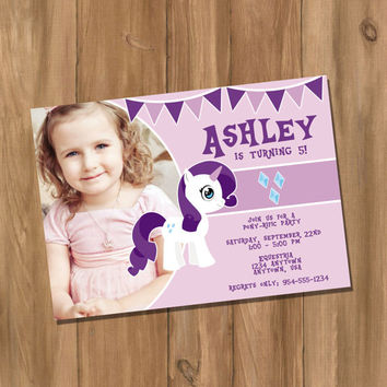 My Cute Pony My Little Pony Rarity Inspired Birthday Party Invitation with Photo (Digital - DIY)