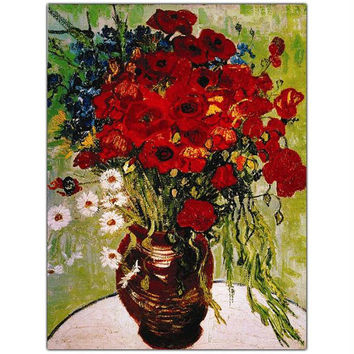 Daisie & Poppies by Vincent Van Gogh-Framed 24x32 Canvas Art