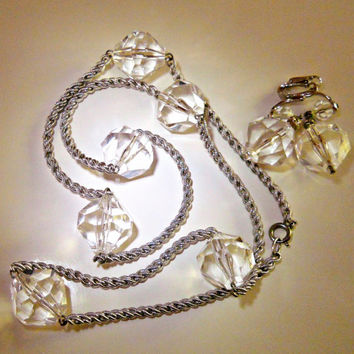Clear Lucite Necklace Earrings Set Silver Tone Vintage Strand