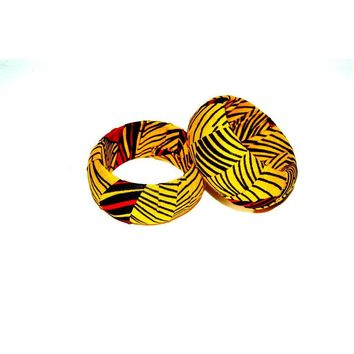 Engagement Jewelry Gift African Fabric Wood Bangle
