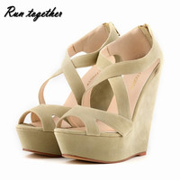 Free shipping New fashion summer women high heeles sandals shoes wedge peep toe platforms roma Cross lacing pumps size 35-42