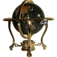 Unique Art 13-Inch Tall Malachite Green Ocean Table Top Gemstone World Globe with Gold Tripod