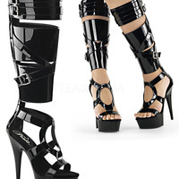 Knee High Gladiator Sandal Boot-Stripper Boots