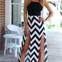 Patterned Spaghetti Straps Maxi Dress With Two Slit
