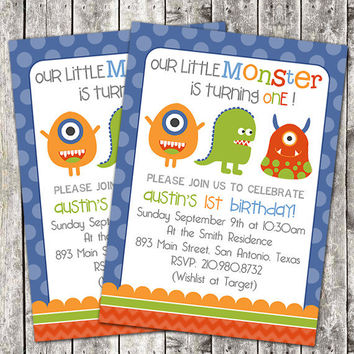 Printable Boy Birthday Party Invitation - Little Monster