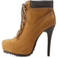 Camel Platform Stiletto Work Booties by Charlotte Russe