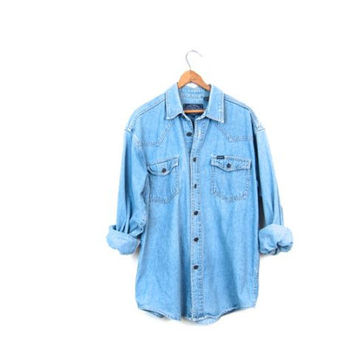 Vintage 80s Washed Out Faded Blue Bleached Denim Shirt Button Up Slouchy Boyfriend Jean Shirt Chambray Minimal Boho Womens Large