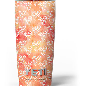 Watercolored Fire with White Tiny Hearts Yeti Rambler Skin Kit