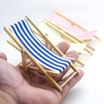 Mini Beach Lounge Chair Dollhouse Miniature Chairs Garden Decoration Furniture Folding Stripe Deck Chair DIY Home Decor ZXY9052