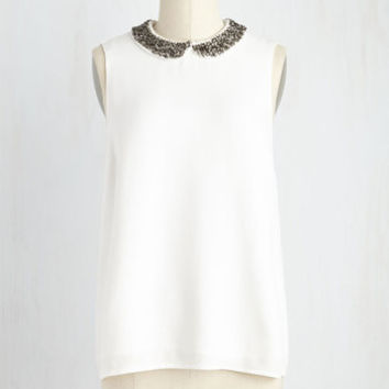 Mid-length Sleeveless Inner Shimmer Top