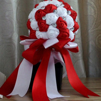 handmade Wedding bouquet flower silk pearl diamond Bride Hands Holding Rose Flower Wedding Bridal Bridesmaid Flower = 1930266180