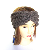 Taupe headband  - knit turban - beige knitted hair accessory - Irish knitwear - chunky knit headband - 100% wool earwarmer - birthday gift