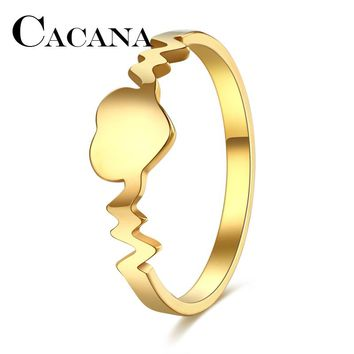 CACANA Fashion rings Women Gold/Silver Peach Heart Ring 316L Stainless Steel Delicate Wedding Anillos FULL SIZE 6-10