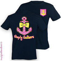 Girlie Simply Southern Anchor Bow T-Shirt on Harbor Blue