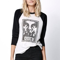 OBEY Hold Up Baseball T-Shirt - Womens Tee - Black/Ivory