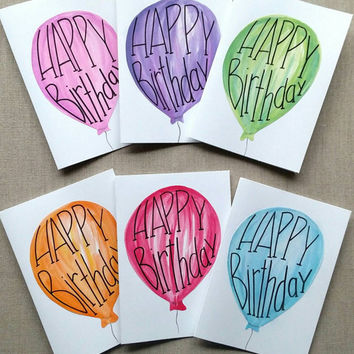 Set of six hand painted balloon birthday cards, set of six cards, blank birthday cards, birthday card sets, hand lettered birthday balloon.