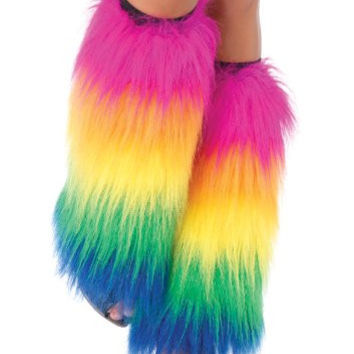 Rainbow Fur Leg Warmers
