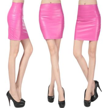 Sexy Casual Faux Leather PU Skirts Women Winter Autumn High Wasit Elegant Vintage Empire Mini Pencil Skirt Harajuku Empire Solid