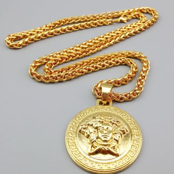 Luxury 18K Gold Classic Rhinestones VERSACE Pendant Necklace Hip Hop Fashion Jewelry Unisex