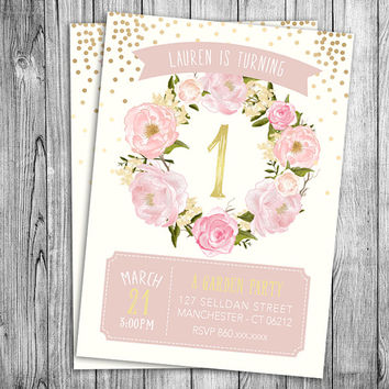 Garden Birthday Invitation First Girls Party Floral Pink Pastel Beige Off White Gold Polka Dots