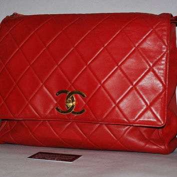 Authentic Chanel Red Vintage Matelasse XL Jumbo Flap Shoulder Bag