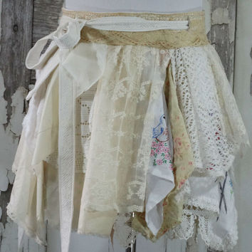 Vintage Lace Fairy Skirt Upcycled Clothing Women's Wrap Skirt Boho Chic Artsy Clothing Junk Gypsy